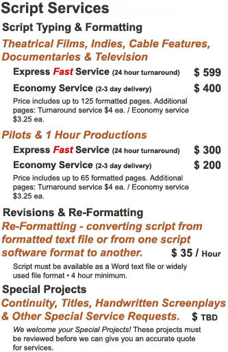 Professional Script Formatting & Typing